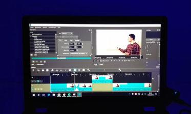 Screenshot während der Bearbeitung eines Videos. Zeigt Bildausschnitt und Zusammenschnitt von Videosequenzen.