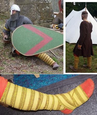 handgewebte Beinwickel im Fischgratmuster, das zweifarbige Dekor hat einen hohen Wiedererkennungswert