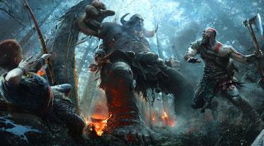 In God of War für PS4 ist Kratos dieses Mal mit seinem Sohn Atreus unterwegs. Bild: Sony Interactive Entertainment