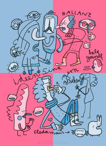 Zeichnung mit Figuren zum Thema Ideenfindung, von Illustrator Frank Schulz