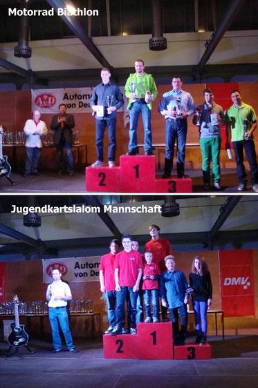Bild oben: Robert Braun wird für seinen 3. Platz im Motorradbiathlon gewürdigt. Bild unten: Unsere Mannschaft wird 3. in der Thüringenmeisterschaft