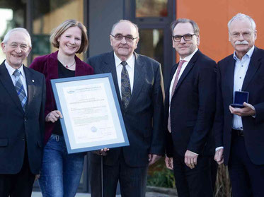 Prof. Dr. Horst A. Wessel, Dr. Ariane Staab, Karl Rudolf Gerhards, Oberbürgermeister Andreas Mucke (Wuppertal), Prof. Dr. Ernst-Andreas Ziegler