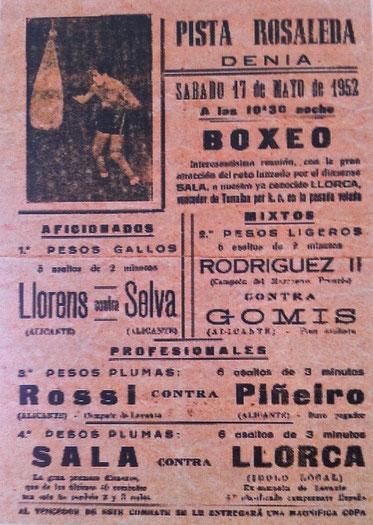 """Cartel de una velada de boxeo en La Rosaleda, del libro """"Dénia, una ciutat de cine"""" de Antoni Reig i Miquel Crespo"""