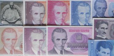 Nikola Tesla en el billetario yugoslavo