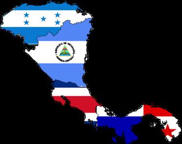 Geografische Karte kombiniert mit den Nationalflaggen von Panama, Costa Rica, Nicaragua und Honduras.
