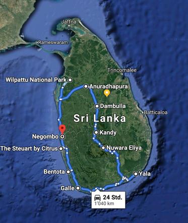 Rundreise, round trip, Our travel route through Sri Lanka 2019