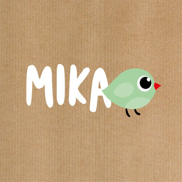 Mika Kindermode Logodesign mit dem kleinen Vögelchen