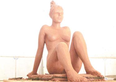 sculpture argile femme nu assis nouveausculpteur 2015.