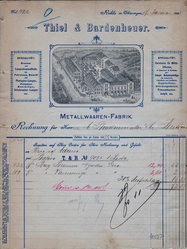 Rechnung Thiel & Bardenheuer 1888 - Archiv W.Malek
