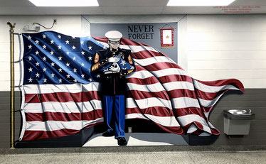 mural, American, flag, Marines, patriotic
