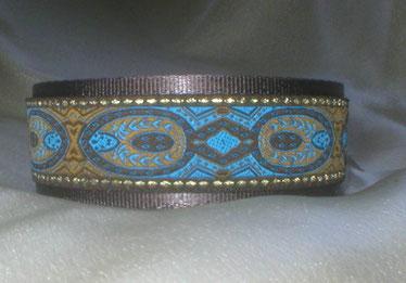 Halsband, Hund, Martingale 4cm breit, Gurtband braun, Borte in blau-gold Tönen