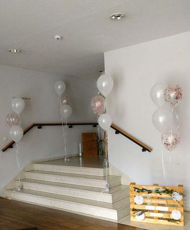 Raumdekoration Harmoniesäle Bamberg Luftballons Hochzeit