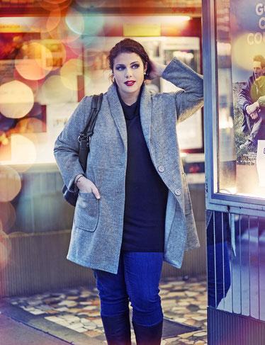 grauer Damen Mantel in XXL , Mantel für Mollige