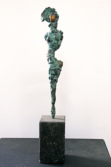 """""""Figur"""", Bronze und Naturstein, Höhe: 37 cm"""