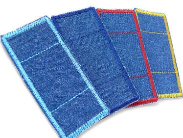 Bild: Set Flicken zum aufbügeln, Mini Hosenpflaster Jeansflicken Bügelflicken im Set blau