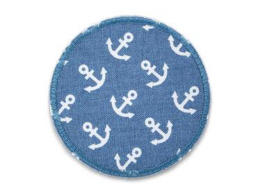 Bild: Anker Hosenflicken blaugrau, runder Bügelflicken, Knieflicken mit weißen  Ankern grau