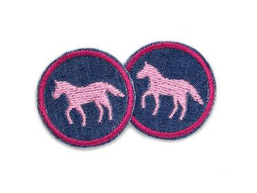 Bild: Bügelbild Pferd rosa, mini Patch Hosenflicken zum aufbügeln für Mädchen