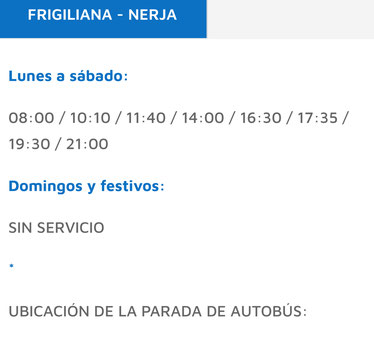 FRIGILIANA NERJA BUS TIMETABEL