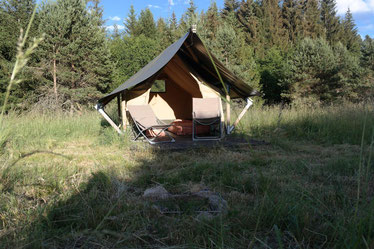 Camping im Safarizelt, Frankreich, Alleinlage, einsam, idyllisch, ruhig, Ruhe, Natur, naturnah,