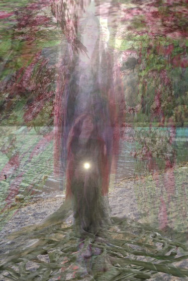 Eine Frau verdreifacht mit einem grossen Baumstamm verbunden und mit den Baumwurzeln stehend. Im Hintergrund der See.