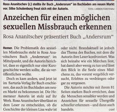 """Zeitungsartikel """"Anzeichen für einen möglichen sexuellen Missbrauch erkennen"""". Rosa Ananitschev präsentiert Buch """"Andersrum"""""""