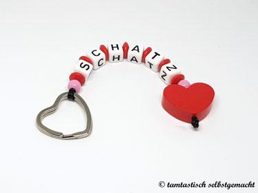 Schlüsselanhänger-Schatz-Herz-rot