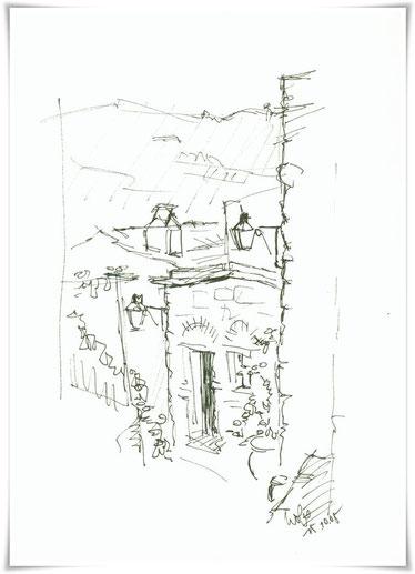Bild Zeichnung: Steinhaus in Spilia auf Chios Griechenland
