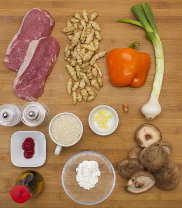 Stachy Zubereitung Stachy Reispfanne asiatisch Rind Shii-Take Rezept selber machen