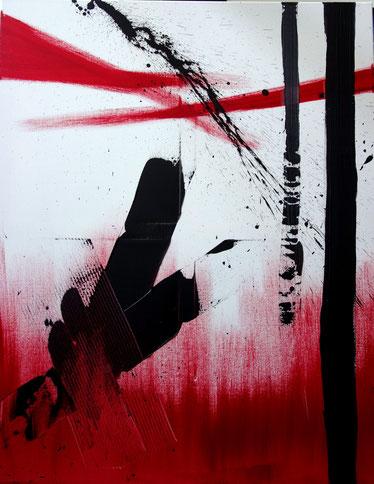 """""""noir carmin"""" - toile réalisée avec Benoit GUERIN - 100X80 - 2014"""