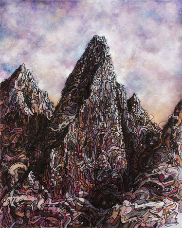Matt.B, mattb, peinture, acrylique, encre, montagne, drus, chamonix, painting, acrylic, ink, mountain