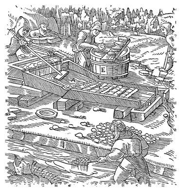 Zeitgenössische Darstellung des Goldwaschen um 1550