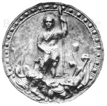 Scheibe von einem Kohortenzeichen (signum), 19,1 cm. Fundort im Kastell von Niederbiber bei Neuwied. Fürstliche Sammlung zu Neuwied. In Silber getrieben.