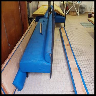 En cour Réfection du Blue Bar 32 mètres de banquettes à Chilly-mazarin 91