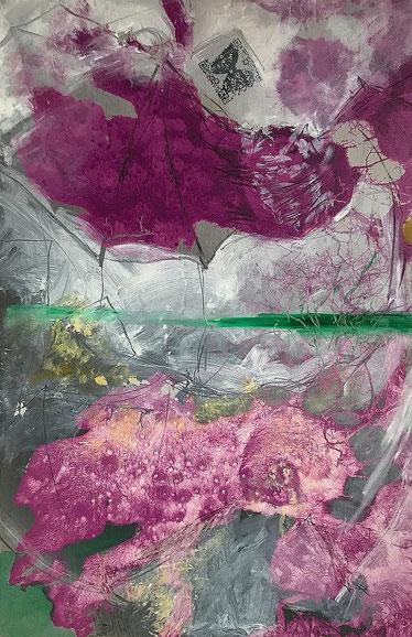 """Pressefoto zur Ausstellung Sinneswandel: Rosemarie Vollmer und Sabine Schäfer, Bildtitel """"Narzissten II"""", Übermalung mit Augmented Reality-Erweiterung"""