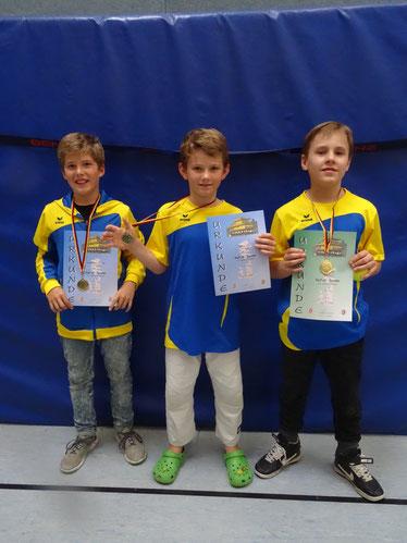Gewannen auch in der U14 ihre Wettkämpfe: Quentin, Felix und Til