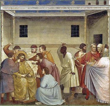 """Un des bourreaux qui frappent le Christ dans """"La Flagellation"""" de Giotto ; Chapelle des Scrovegni, Padoue, Italie, 1300-1310."""