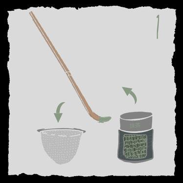 Zubehoer fuer die traditionelle Zubereitung von Matcha-Tee, Pulver entnehmen