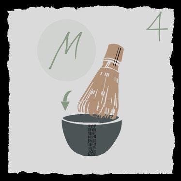 Zubehoer fuer die traditionelle Zubereitung von Matcha-Tee, tee schaumig rühren