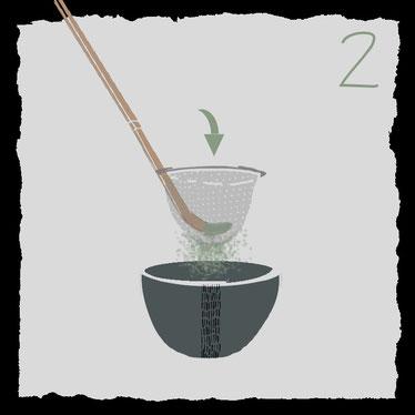 Zubehoer fuer die traditionelle Zubereitung von Matcha-Tee, pulver sieben