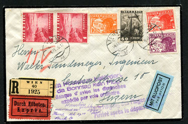 """14.11.1936 Wien, R-Expressbeleg mit Flugpostfrankatur für die OELAG-Linie Wien-München-Zürich. Der Fluganschluss wurde nicht erreicht daher die beiden Ausfallstempel. Rückseitig AKSt. """"Luzern 15.6.1936-18""""."""