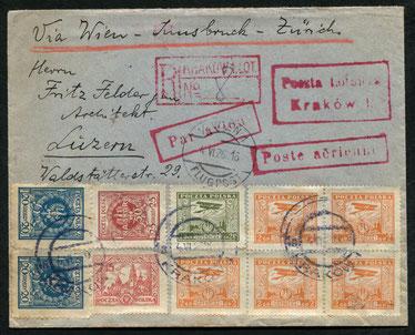 """4.6.1926 Krakau, R-Beleg mit Flugpostfrankatur Krakau-Prag-Wien-Innsbruck-Zürich der französischen CIDNA-Linie (oder ab 25.4.1925 Krakau-Wien mit AEROLOT möglich). Transitstempel """"Wien 1 Flugpost""""."""
