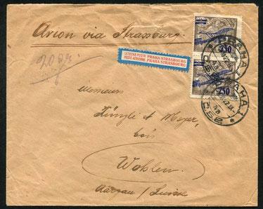 2.11.1922 Prag, früher Beleg ab Prag mit CFRNA (COMPAGNIE FRANCO-ROUMAINE DE NAVIGATION AERIENNE) über Strassburg per Flugpost und weiter per Bahn in die Schweiz, rückseitig AKSt. von Wohlen. Einer der ersten FLP-Belege überhaupt.