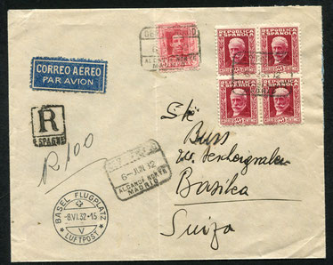 "6.6.1932 Madrid, R-Brief Madrid-Paris mit LAPE, Umlad und mit der SWISSAIR/CIDNA bis Basel, rückseitig Transitstempel ""Paris Avion 8.6.1932-6.45""."