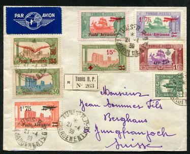 """21.4.1939 Tunis, R-Flugbrief Tunis-Lyon-Genf mit AF. Ab Lyon per Bahn, da Ankunft am Sonntag (Sonntags kein Flugverkehr), rückseitig mit Ankunftsstempel """"Kleine Scheidegg"""" und """"Jungfraujoch"""" vom 24.4.1939."""