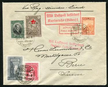 15.8.1928 Istanbul, CIDNA-Beleg Istanbul-Wien-Nürnberg-(Paris) via Nürnberg und weiter mit DLH/AD ASTRA via Stuttgart und Karlsruhe nach Zürich.