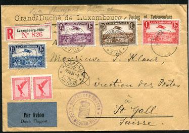 9.7.1931 Luxemburg, R-FLP Beleg via Stuttgart-Zürich mit DLH/SWISSAIR bis St. Gallen mit AERO-Gesellschaft St. Gallen. Der Flugpostzuschlag ausserhalb von Luxemburg musste mit deutschen, belgischen oder französischen Briefmarken gedeckt werden. Auf diesem