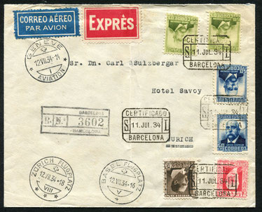12.7.1934 Barcelona, R-Expressbeleg ab Barcelona via Genf-Basel mit DLH/SWISSAIR (Umlad) und bis Zürich mit SWISSAIR möglich.