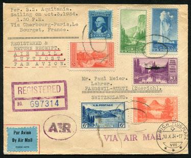 """2.10.1934 New York, R-Brief ab New York, per schiff und Bahn nach Paris dann mit SWISSAIR über Basel nach Zürich. Der brief trägt den Stempel """"A.R."""" (avis de réceéption)."""