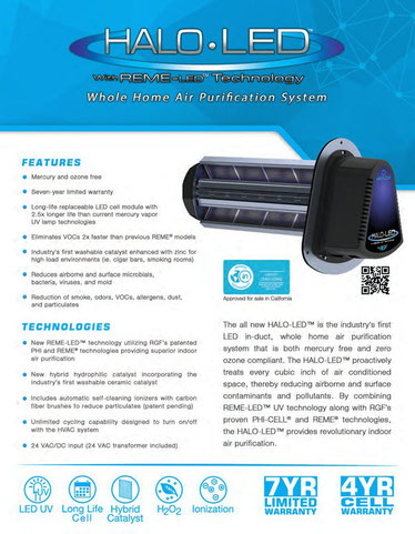 RGF HALO-LED UV plus ionization air purifier system