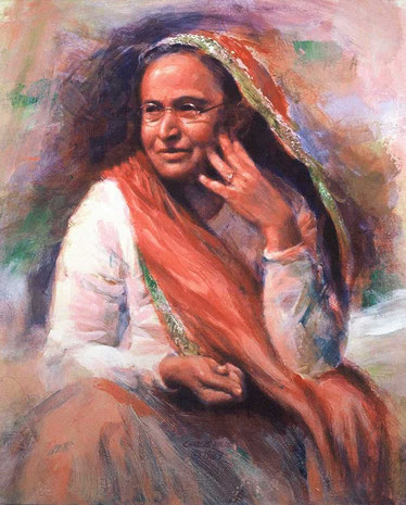 "Painted by : Charlie Mills, 1989 - ""Shireen"" - Oil-24x20 - Located at Baba's home,Poona - http://www.millsstudio.com/"